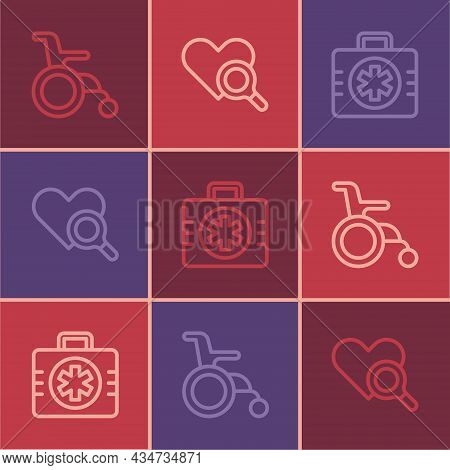 Set Line Wheelchair For Disabled Person, First Aid Kit And Medical Heart Inspection Icon. Vector