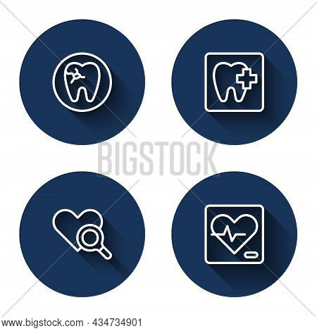 Set Line Tooth With Caries, Dental Clinic Location, Medical Heart Inspection And Heart Rate With Lon