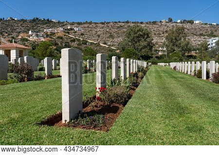 Crete, Greece - September 20, 2021: Souda Bay War Cemetery, An Allied War Cemetery Administered By T