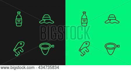 Set Line Fishing Net, Lure, Bottle Of Vodka And Fisherman Hat Icon. Vector