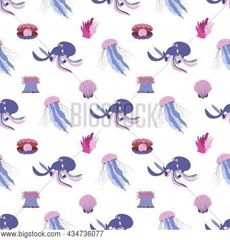 Sea Animal Seamless Pattern With Octopus, Jellyfish And Seashell. Undersea World Habitants Print. Ha
