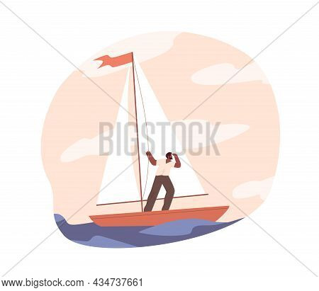 Hope For Success In Future Concept. Bold Person Travel In Sailboat, Looking, Searching And Exploring