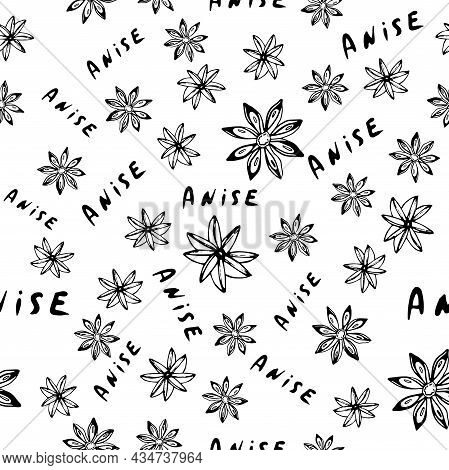 Anis Star And Spices Seamless Pattern. Hand Drawn Background.