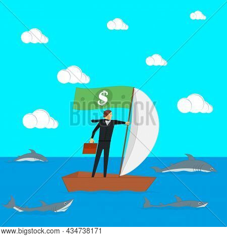 The Concept Of Risks In Business And Management. Businessman On A Sailing Boat Surrounded By Sharks.