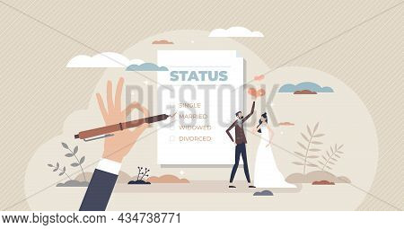 Marital Status Change With Couple Relationship Type Tiny Person Concept. Checkbox List With Single,