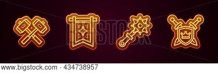 Set Line Crossed Battle Hammers, Medieval Flag, Mace With Spikes And Shield Swords. Glowing Neon Ico