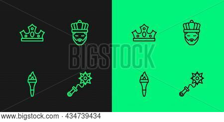 Set Line Mace With Spikes, Torch Flame, King Crown And Icon. Vector