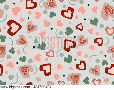 Abstract Seamless Orange Hearts Background Vector.  Design For Fabric Dress Materials Wall Paper Ban