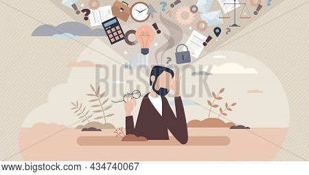 Information Overload Or Job Burnout With Stress Tiny Person Concept. Busy Businessman Is Tired About
