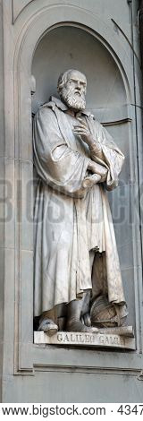Florence, Fi, Italy - August 21, 2015: Statue Of Galileo Galilei A Famous Italian Astronomer  Physic