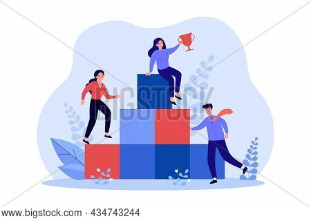 Business People Climbing Career Ladder For Award. Businessman Character Standing At Podium, Woman Le