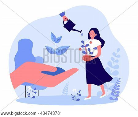 Gardener Growing Plant With Care. Tiny Woman Holding Potted Flower, Hand With Seedling Of Tree Flat