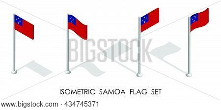Isometric Flag Of Samoa In Static Position And In Motion On Flagpole. 3d Vector