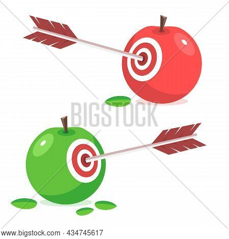 Arrow Hits An Apple. Concept Of Succeeded Target