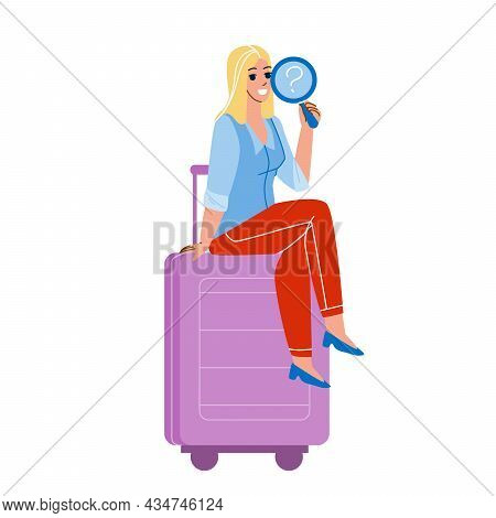 Girl Traveler Found Lost Baggage In Airport Vector. Young Woman Passenger Found Lost Luggage, Airlin
