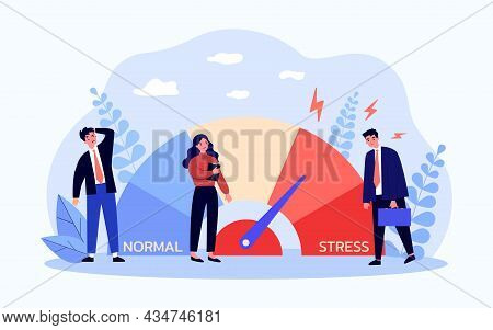 Stress Meter Measuring Level Of Burnout For Employees. Tiny Tired Business People In Crisis Flat Vec
