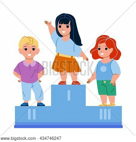 Children Celebrate Victory In Competition Vector. Boy And Girl Kids Standing On Pedestal And Celebra