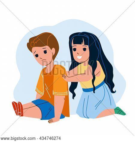 Kids Empathy Upset Friend In Kindergarten Vector. Girl Consoling And Encouraging Upset Boy. Characte