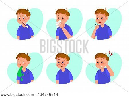 Ill Boy With Flu Or Cold Flat Vector Illustrations Set. Cartoon Kid With Symptoms Of Grippe, Allergy