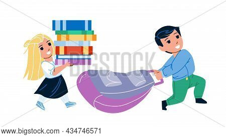 School Kids Go At Lesson With Bag And Books Vector. Boy And Girl Children Going To School With Backp