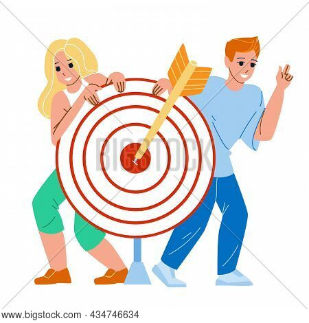 Target Audience People For Selling Product Vector. Teenager Boy And Girl Target Audience And Focus G