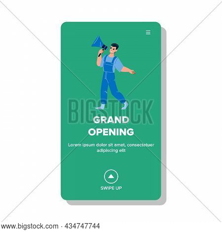 Grand Opening Advertising Man In Megaphone Vector. Guy With Loudspeaker Announcing Mall Or Fashion S