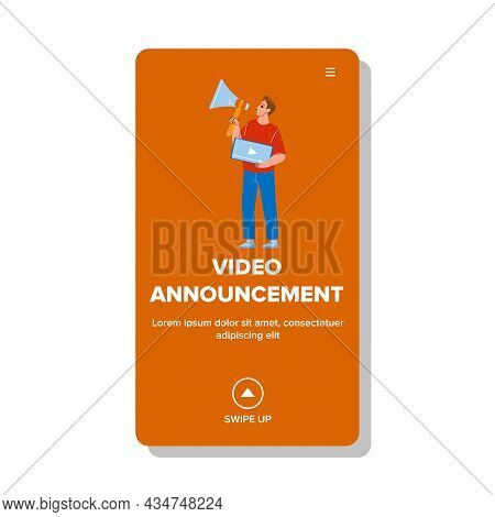 Video Announcement Presenting Manager Boy Vector. Blogger Or Marketer Advertising With Loudspeaker V
