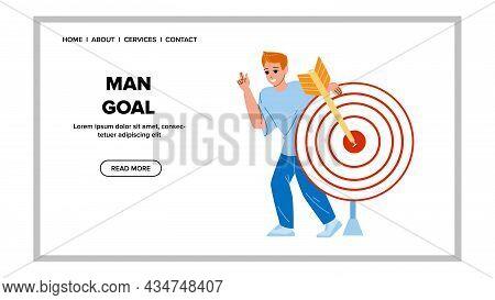 Man Goal Successful Sportive Achievement Vector. Archery Sport Game Success Goal Showing Boy Sportsm