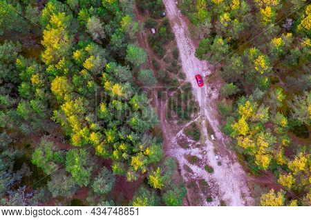 Aerial View From Drone Of Road Leading Through Autumn Forests And Red Highlighted Car And Groves In