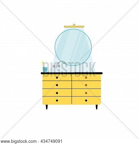 Vector Flat Cartoon Bathroom Cabinet With Mirror, Sink And Faucet Isolated On Empty Background-moder