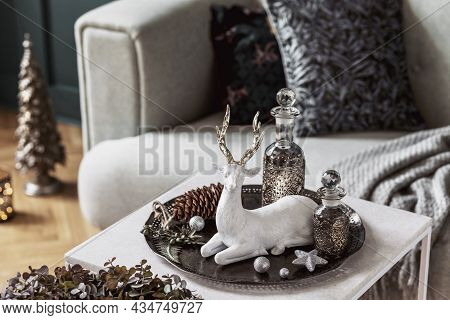 Christmas Composition On The Marble Table In The Living Room Interior With Beautiful Decoration. Chr