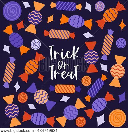 A Square Postcard With Sweets In A Wrapper. Hand Lettering-trick Or Treat. Halloween Decoration. Col