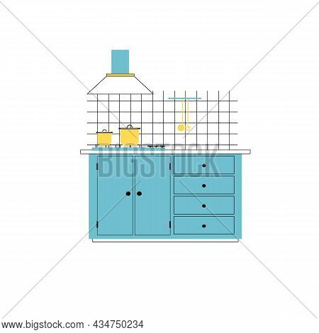 Vector Flat Cartoon Pans On Cooking Table With Cabinet And Exhaust Hood Isolated On Empty Background
