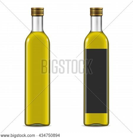Natural Extra Virgin Olive Oil Realistic Glass Bottles With Labels. Layout Of Food Identity Branding