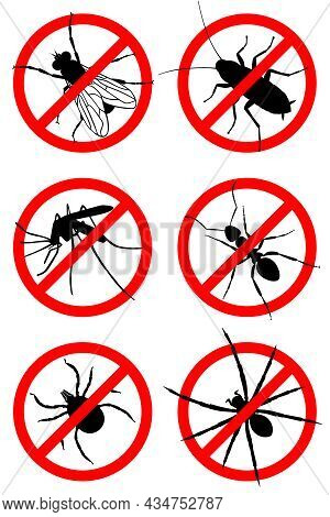 Insects Prohibited Icons Set. Symbols Set: Mosquitoes, Flies, Cockroaches, Ants, Mites, Spiders. Pes