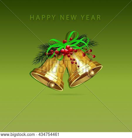 Christmas Composition In Green Shade With A Gradient, Golden Bells With A Bow With Glitter.