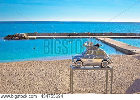 Monaco, January 15 2019: Monte Carlo Beach And Fiat 500 Sculpture In Metal Color By Stepane Cipre Vi