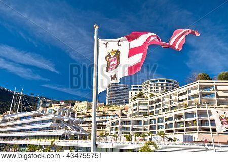 Monte Carlo, Monaco, January 15 2019: Yacht Club De Monaco Flag And Headquarters View. Club Founded