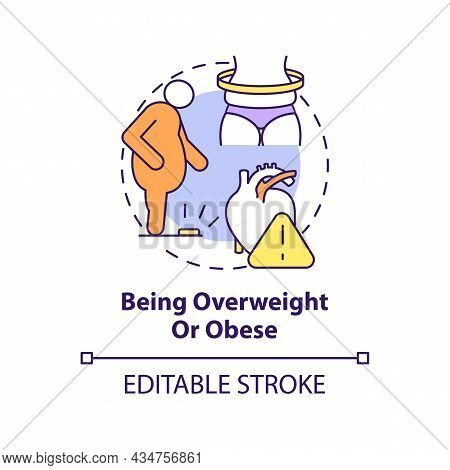 Being Overweight And Obese Concept Icon. Hypertension Cause Abstract Idea Thin Line Illustration. Be