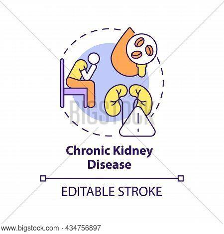 Chronic Kidney Disease Concept Icon. Hypertension Cause Abstract Idea Thin Line Illustration. Kidney