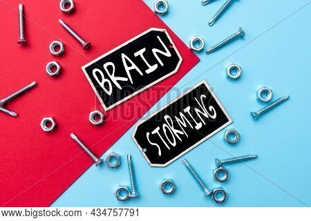 Text Sign Showing Brain Storming. Word For Stimulating Creative Thinking Developing New Ideas Discus