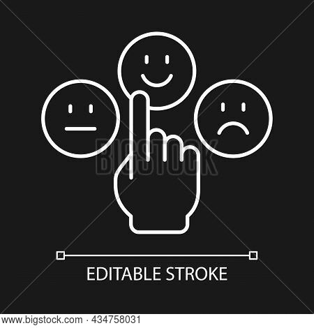 Emotional Maturity White Linear Icon For Dark Theme. Ability To Control And Manage Emotions. Thin Li