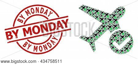 Red Round Stamp Has By Monday Text Inside Circle. Vector Accept Airplane Collage Is Created From Ran