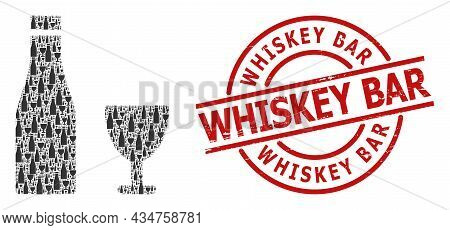Red Round Stamp Includes Whiskey Bar Title Inside Circle. Vector Alcohol Drinks Collage Is Made From
