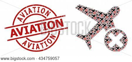 Red Round Badge Contains Aviation Caption Inside Circle. Vector Closed Airplane Fractal Is Done From