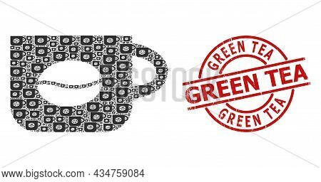 Red Round Seal Contains Green Tea Tag Inside Circle. Vector Coffee Cup Mosaic Is Constructed From Ra