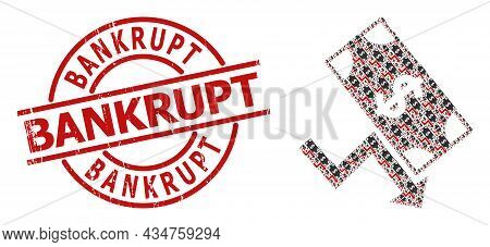 Red Round Badge Has Bankrupt Title Inside Circle. Vector Dollar Down Trend Composition Is Formed Fro