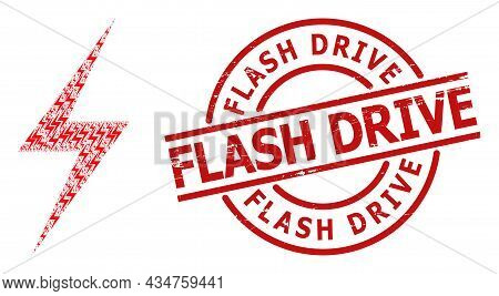 Red Round Stamp Seal Has Flash Drive Text Inside Circle. Vector Electric Strike Fractal Is Formed Of