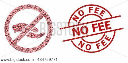 Red Round Seal Includes No Fee Text Inside Circle. Vector Forbid Asking Hand Composition Is Composed