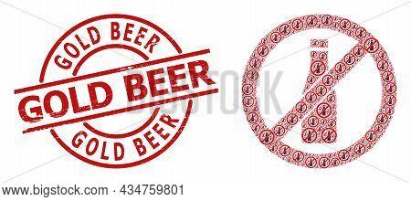 Red Round Stamp Has Gold Beer Caption Inside Circle. Vector Forbid Beer Bottle Fractal Is Designed W